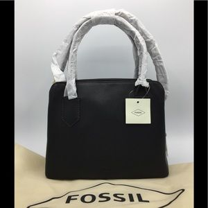 Fossil Lana Black Leather Satchel Crossbody Bag
